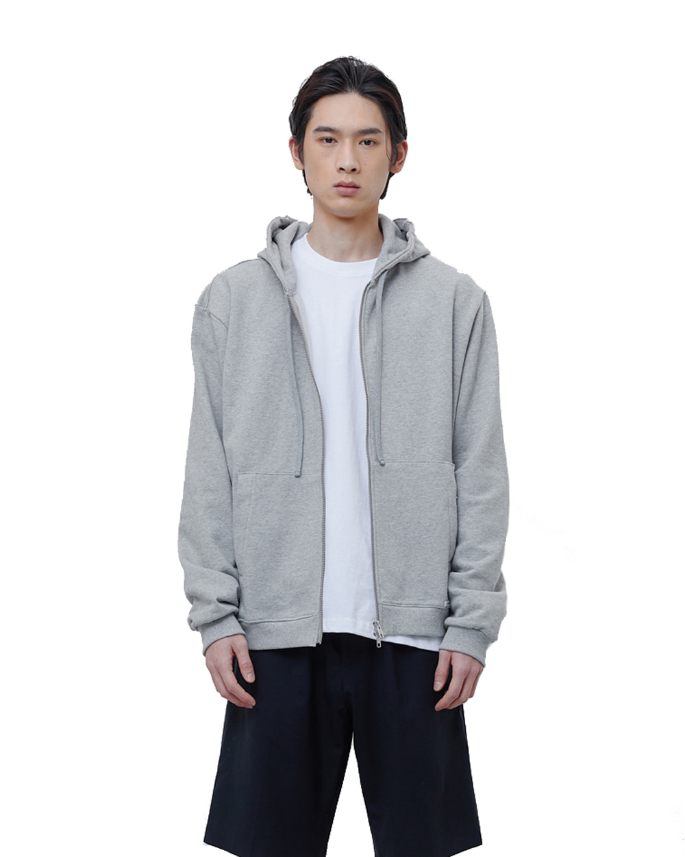 에이카화이트 FINEST COTTON ZIP UP HOODIE (Grey)