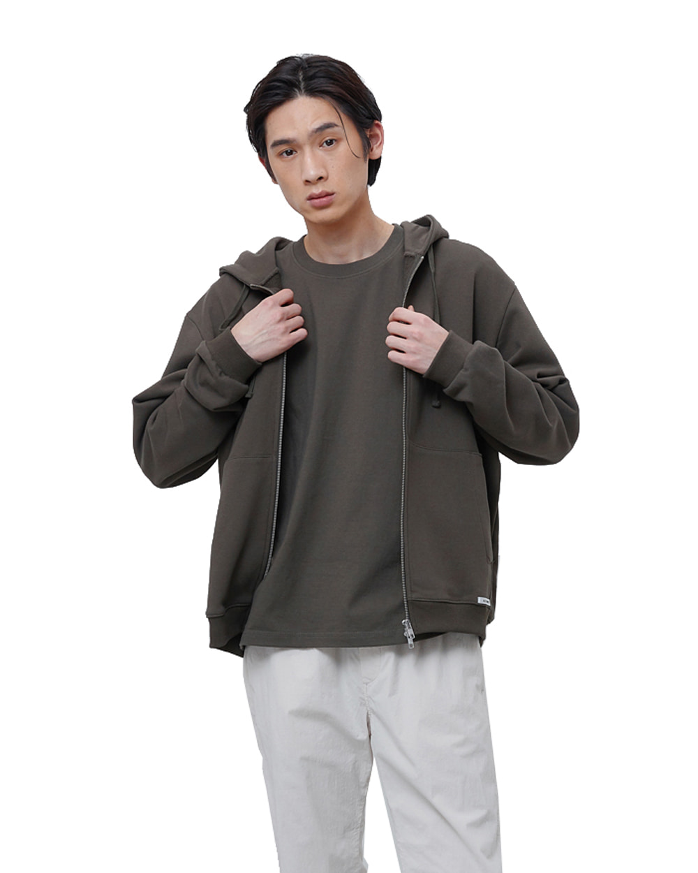 에이카화이트 FINEST COTTON ZIP UP HOODIE (Olive)