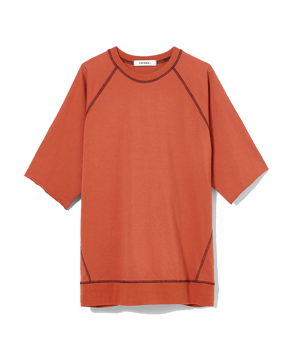 이니그마 Raglan Cut-off T-Shirt (Orange Red)