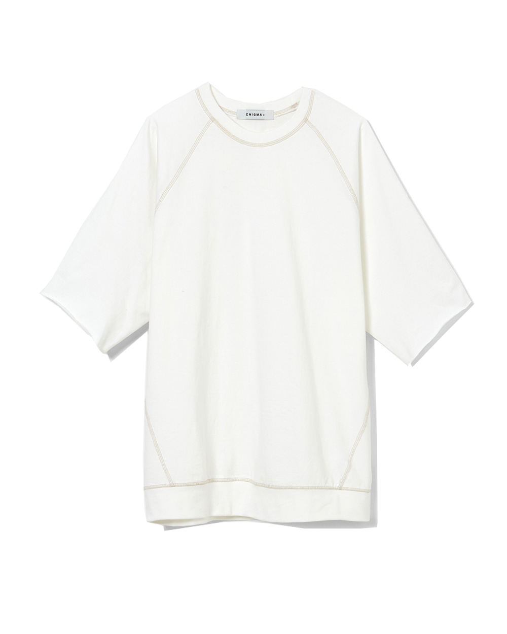 이니그마 Raglan Cut-off T-Shirt (White)
