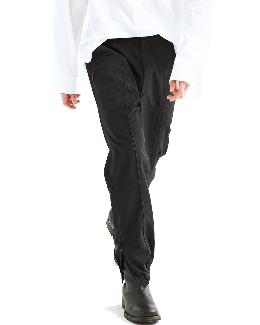 ATESTUDIOS SLIT ZIP TRACK PANTS (Black)