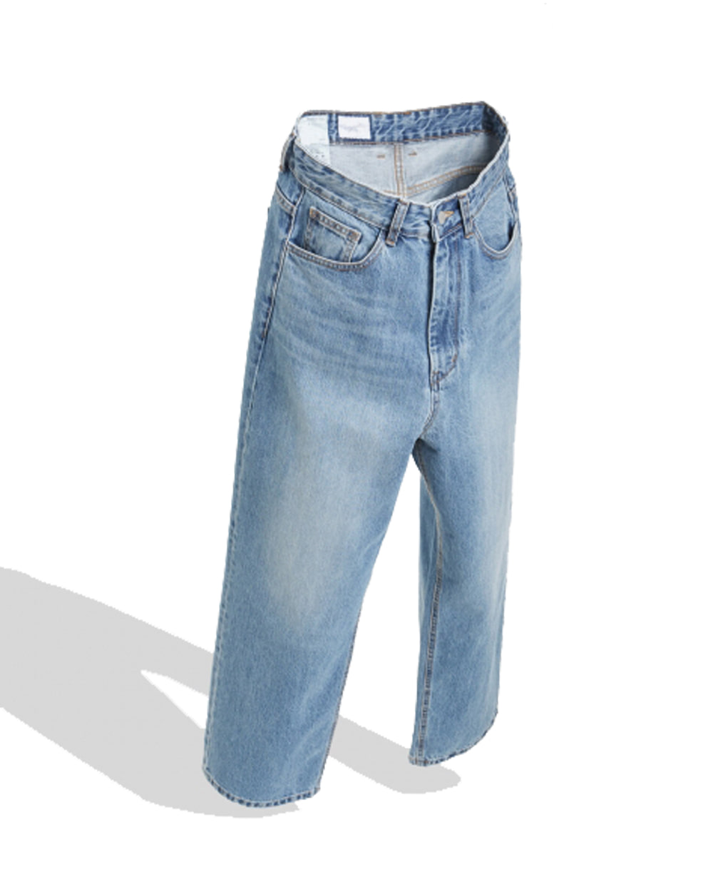 유스 Wide Denim Pants (Medium blue)