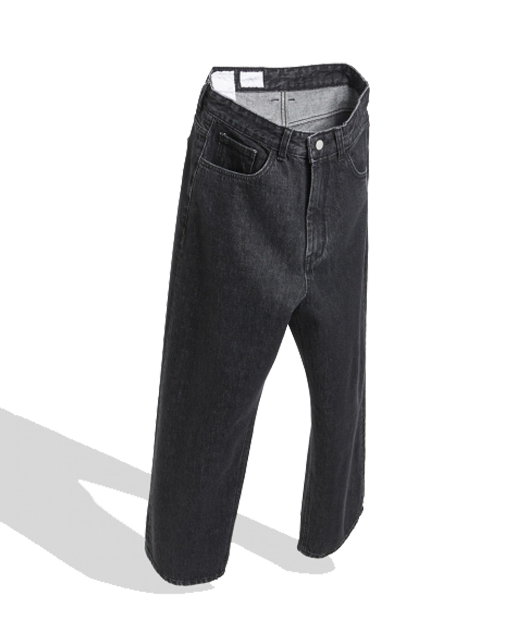유스 Wide Denim Pants (Washed Black)