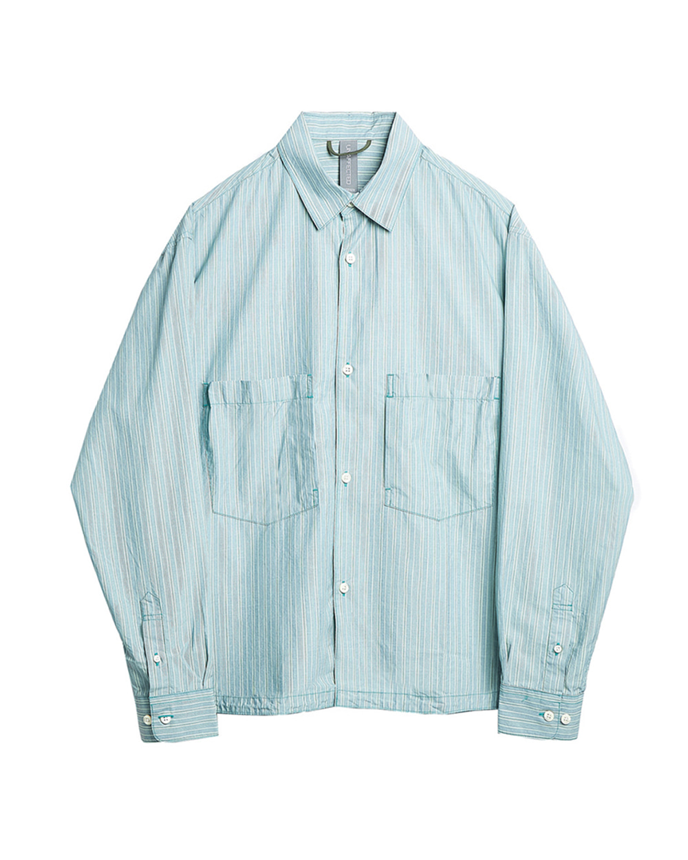 언어펙티드 Oversized Shirt (Pale Mint&Blue Stripe)