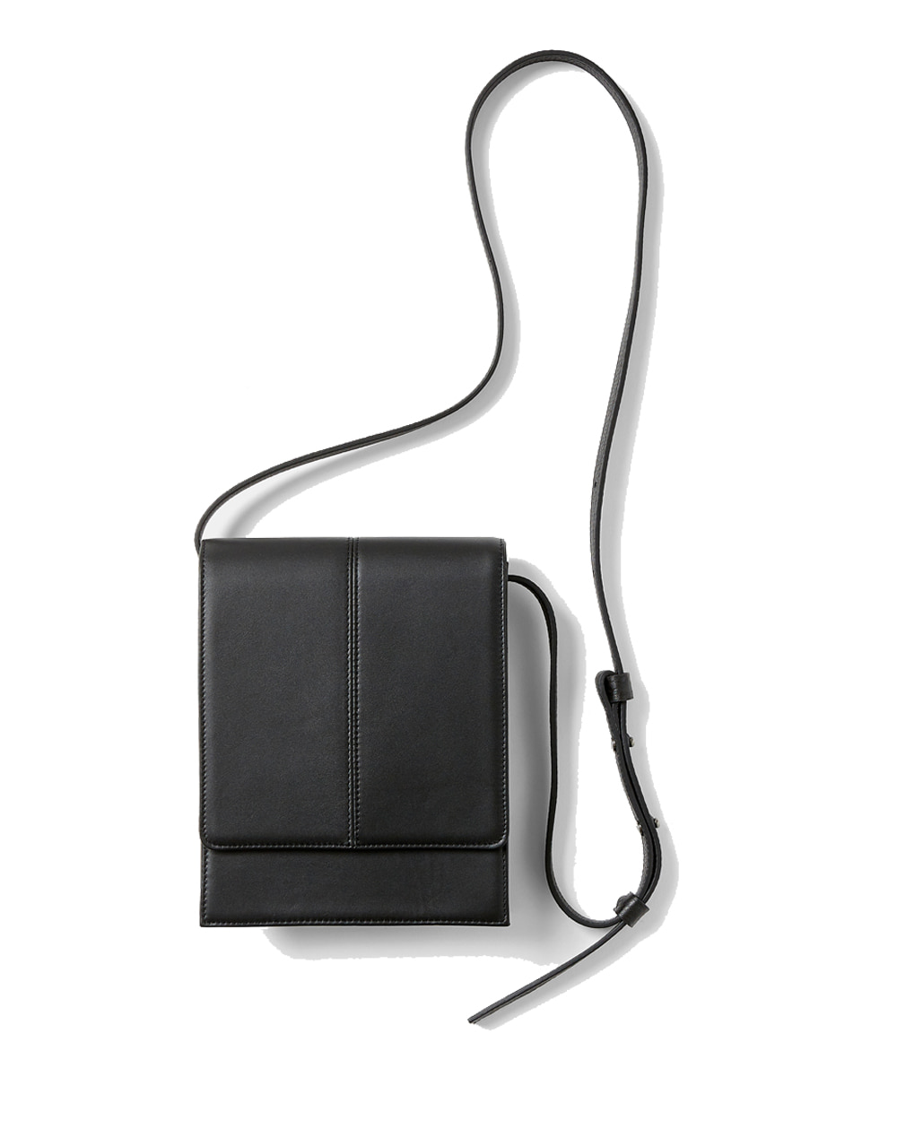 유스 Leather Cross Bag (Black)