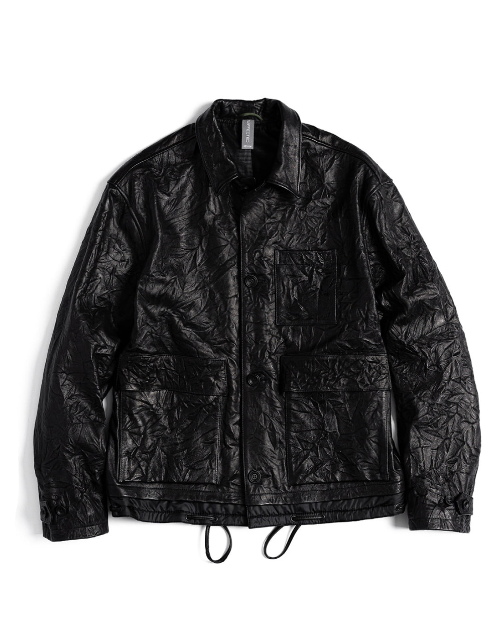 언어펙티드 CONTRAST PANEL LEATHER JACKET (Black)