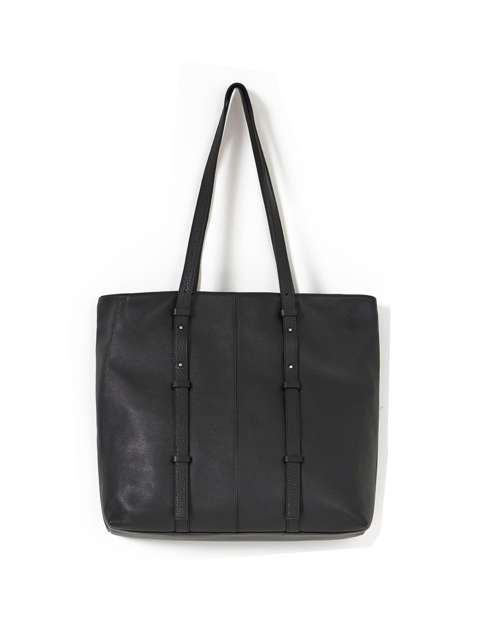 유스 Leather Tote Bag (Black)