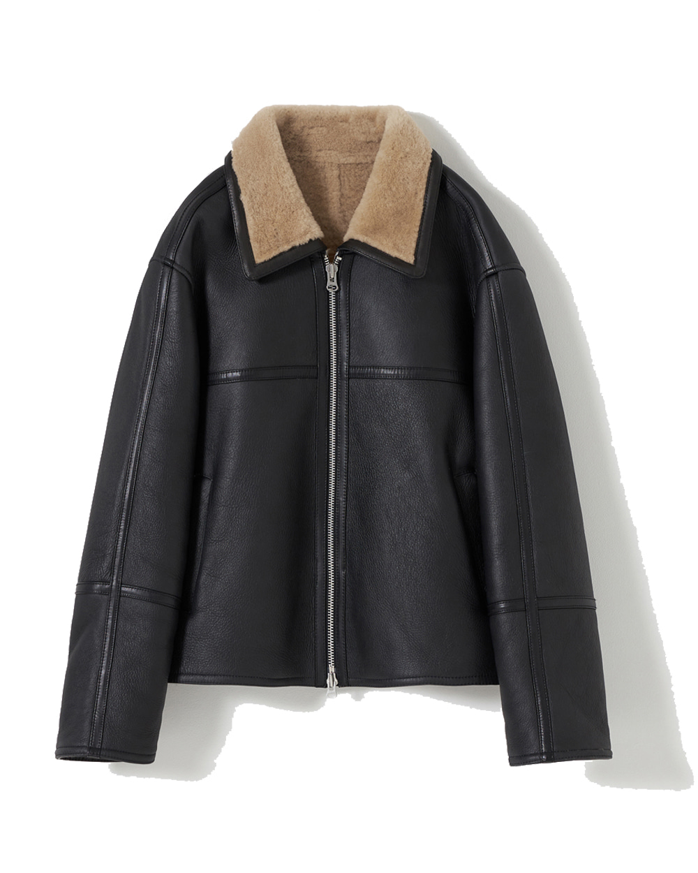 유스 Mouton Jacket (Black)