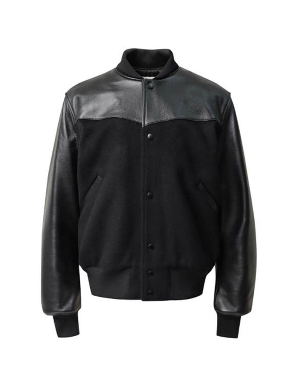 ATE STUDIOS TED'S WOOL BLEND LEATHER JACKET (Black)