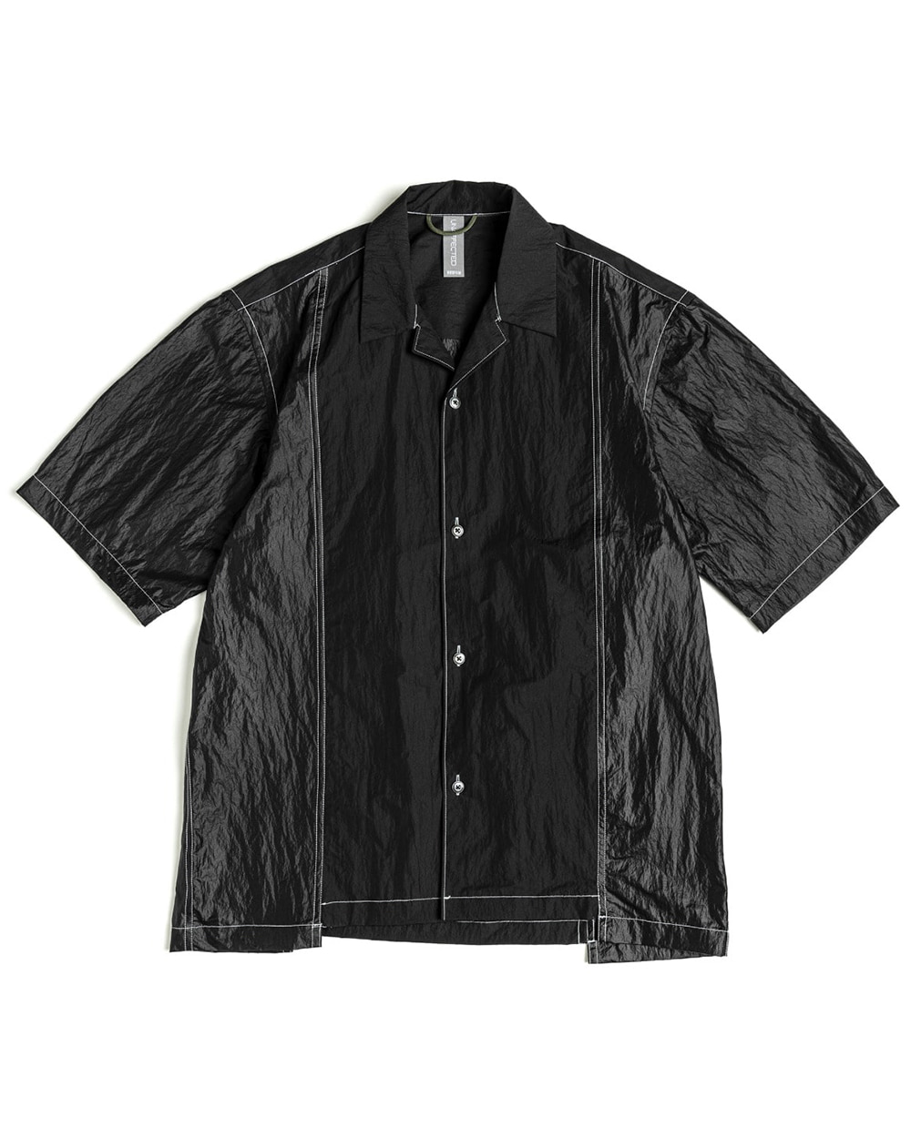 언어펙티드 CONTRAST PANEL HALF SHIRT (Black)