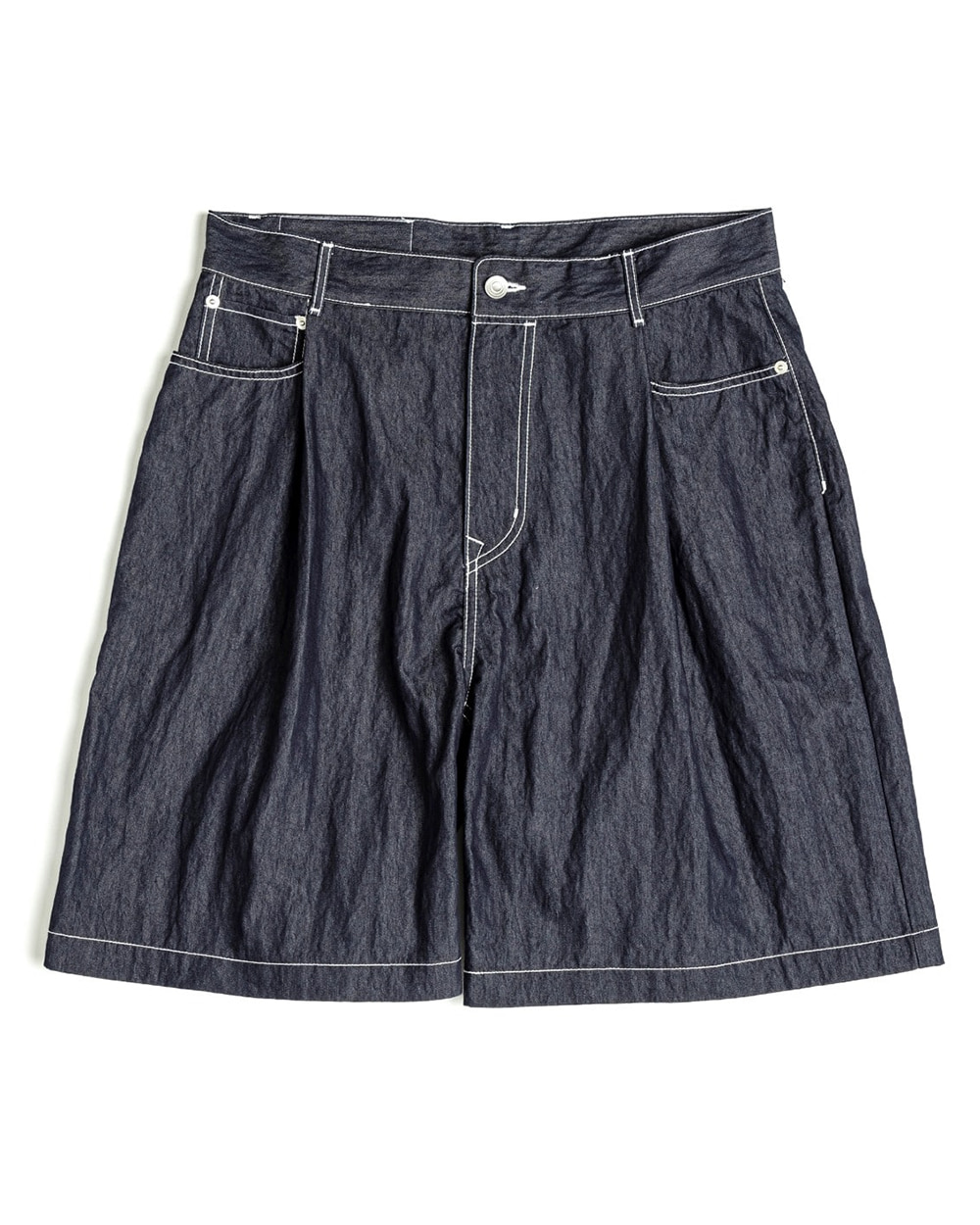 언어펙티드 ONE TUCK DENIM SHORTS (Indigo blue)