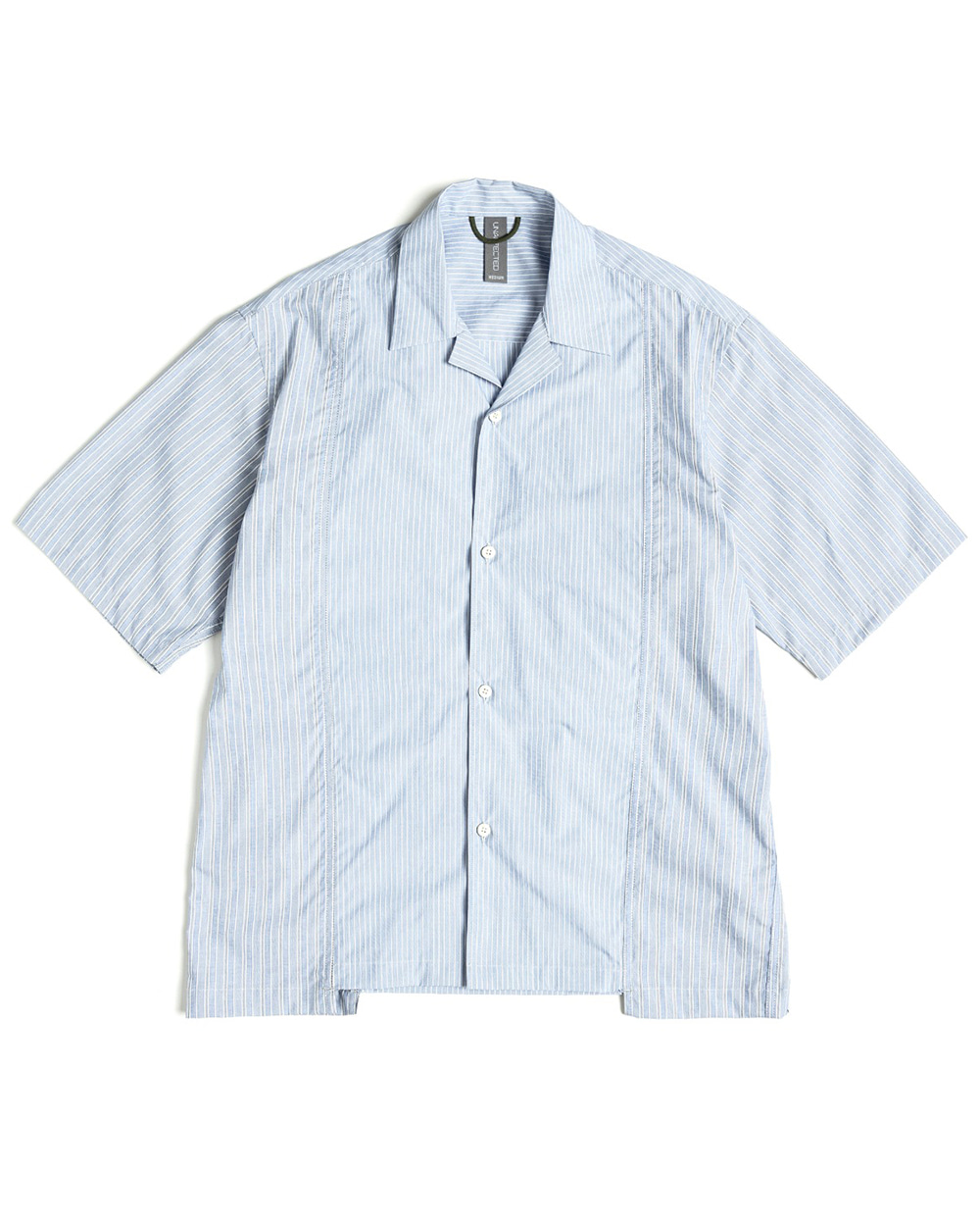언어펙티드 CONTRAST PANEL HALF SHIRT (Blue stripe)
